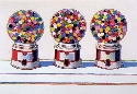 Painting of Three Gumball Machines by the painter Wayne Thiebaud.