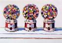 Painting of Three Gumball Machines by the painter   Wayne Thiebaud.